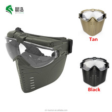 custom army green uv400 anti-fog impact electric fan full face military tactical ballistic paintball mask