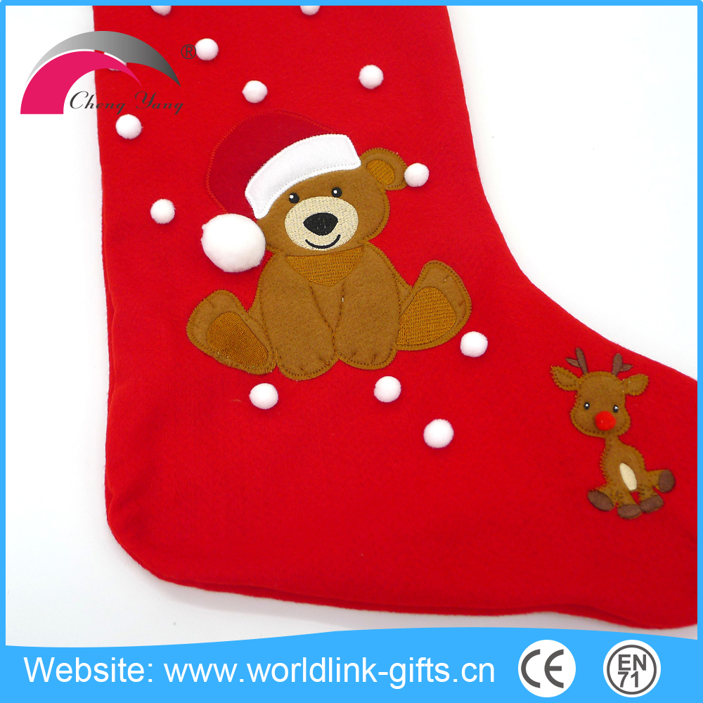 Red/green/blue customizable Christmas stockings stuffed animal from China