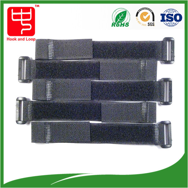 Adjustable black hook and loop strap, cable tie with plastic buckle