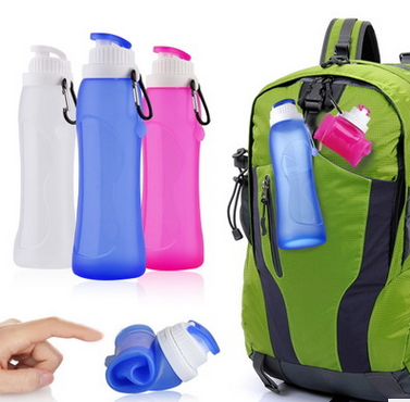 wholesale silicone water bottle folding bpa free silicone collapsible water bottle