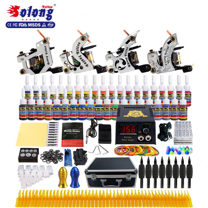 Solong Tattoo Machine Set Professional 54Inks 4 Coil Machines Tattoo Kit With Aluminum Case