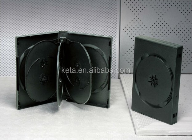 27MM Thick Plastic Multi 7 Discs Black Long DVD Case With 2 Trays