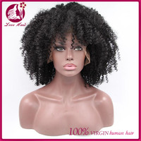 Short Afro Kinky Curly Full Lace Wigs For African American Women 180% Density Thicker Lace Front Wig With Baby Hair