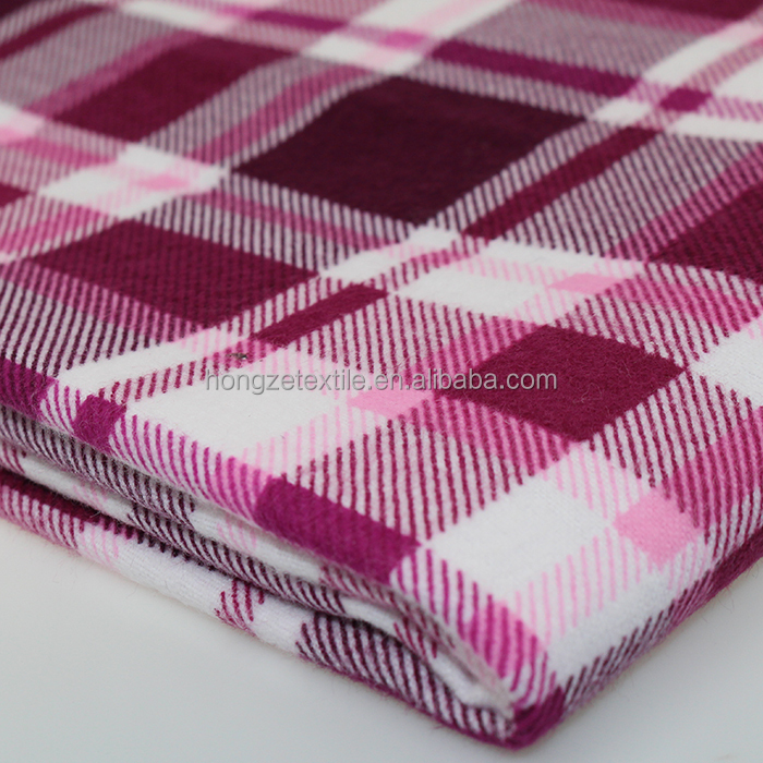Hot sale high quality woven brushed red plaid flannel fabric using for shirt