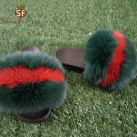 custom chinese designer cute indoor house real animal fur fancy women slippers