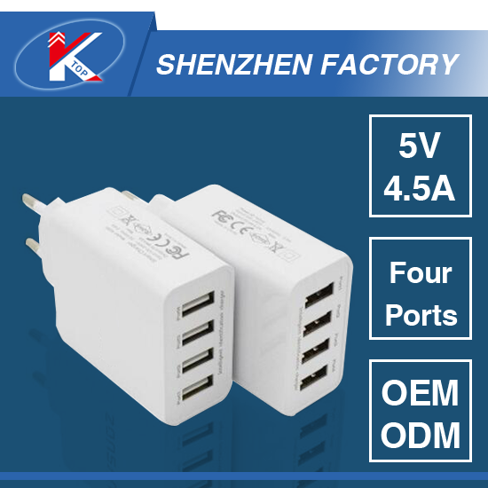 5V 4.5A Four Ports Universal Charger for Cell Phone and Tablet US EU Plug Fast Charger Experienced Factory