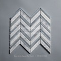 Bianco Carrara Mixed Mugwort Blue Chevron White Marble Mosaic Flooring Tile