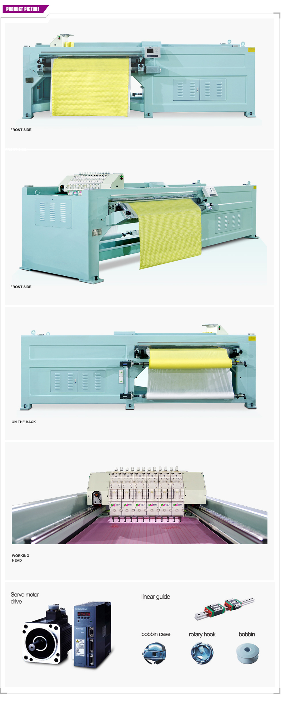 YBD18 Computerized Horizontal Quilting Embroidery Machine(single width)