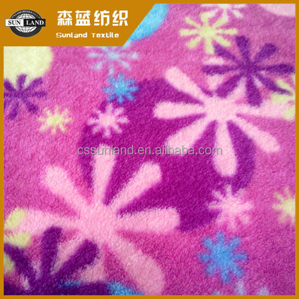 printed 100% polyester coral fleece fabric