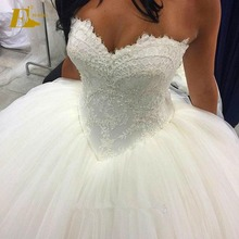 High Quality Ball Gown Sweetheart Backless Crystal Western Wedding Dresses 2017