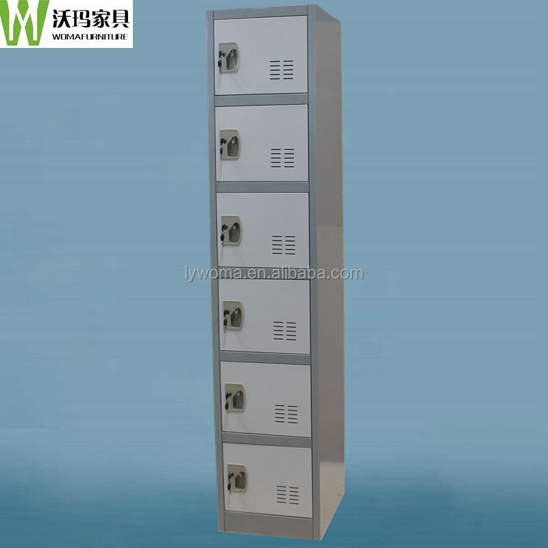 Metal material tall thin 6 compartment locker gym use,hair salon storage cabinet