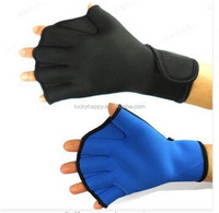 2mm Neoprene Webbed Surfing Swimming Diving Gloves Fingerless Swim Duck Paddling Palm Webbed Gloves Blue Black for Men Women