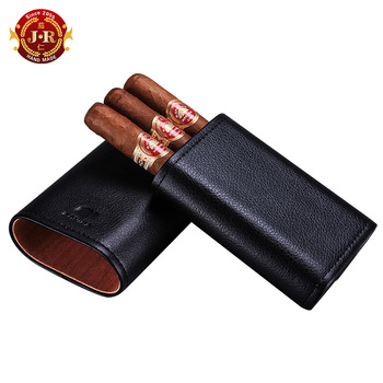 factory cigar cedar leather case travel portable 3 stick cigar humidor moisturizing cigar accessories CF-0001b
