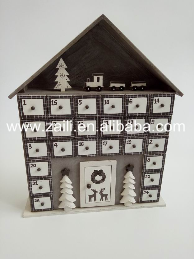 Christmas decoration Wooden craft gift 29.5*6*36cm House shaped Wooden printed advent calendar