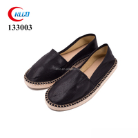 Ladies new design black fabric cheap loafer espadrille canvas shoes