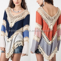New Arrival 2016 Women Boho V-Neck Long Sleeve Shirts Sexy Hollow Out Blusas Casual Loose Irregular Blouse Tops 2 Colors