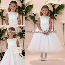 HF2039 White round neckline satin top handmade flowers waist gathered layers tulle tea length sleeveless girls one piece dress