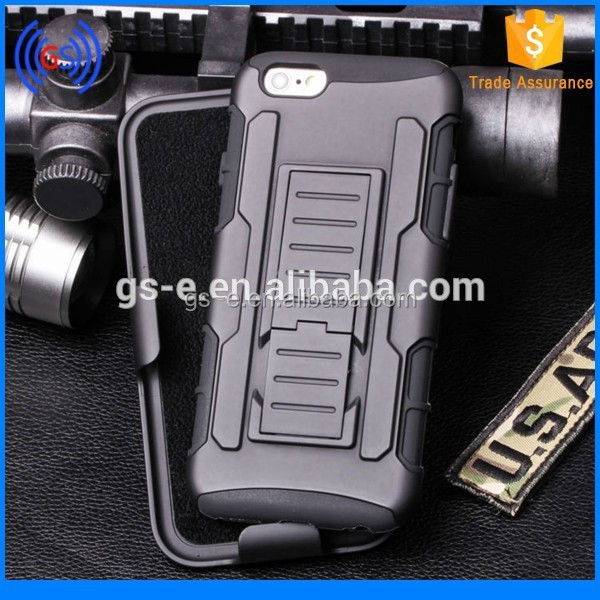 pc silicon combo hybrid stand case with belt clip rugged hard robot mobile phone cover for iphone 6