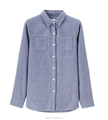 OEM flannel shirts for women plain solid color brushed cotton flannel shirt for lady