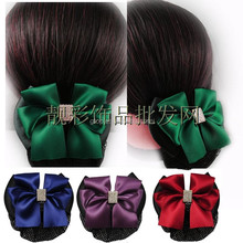 satin hair clip snood bun cover hair net with rose flower FZ0089s