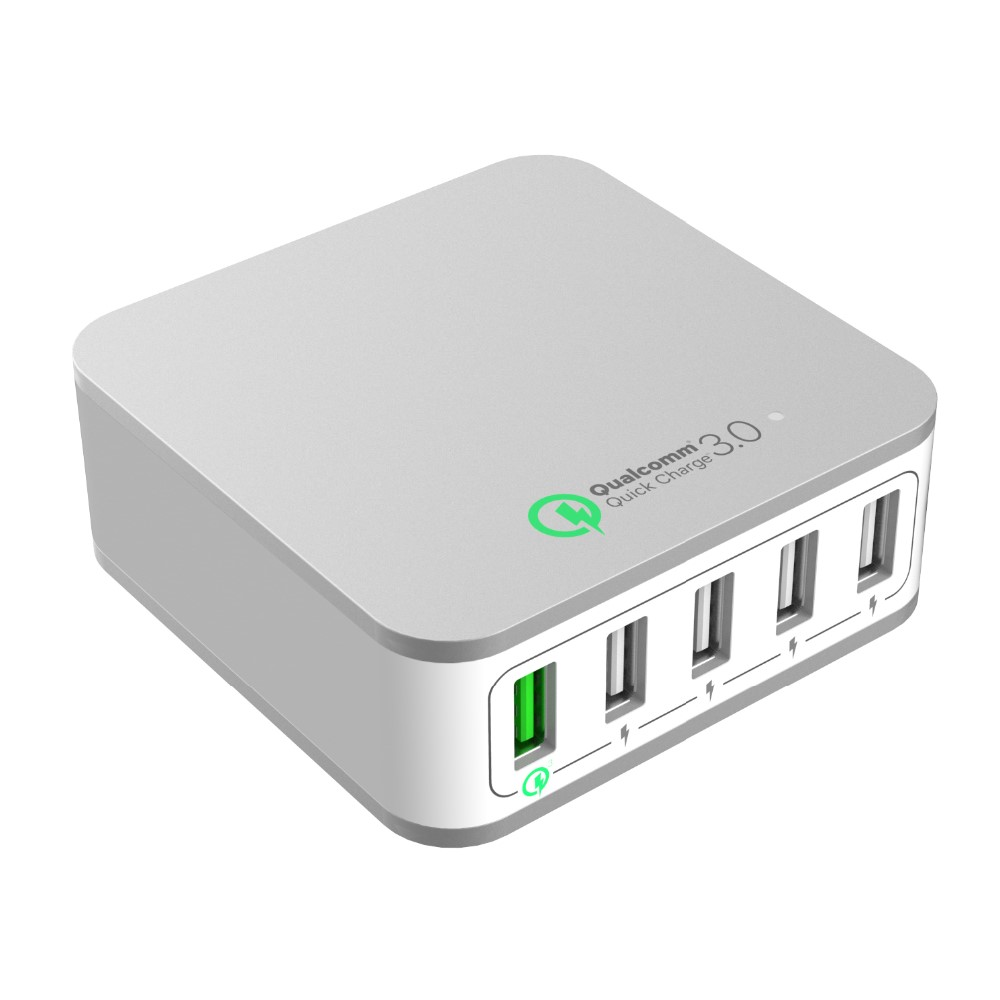 Factory Fast charger 5 Ports QC3.0 5V2.4A 9V2A 12V1.5A Desktop USB Quick Charger with EU or US Plug