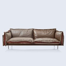 latest italian design industrial loft cafe coffee shop furniture genuine leather fabric sofa 1 2 3 L shaped seaters