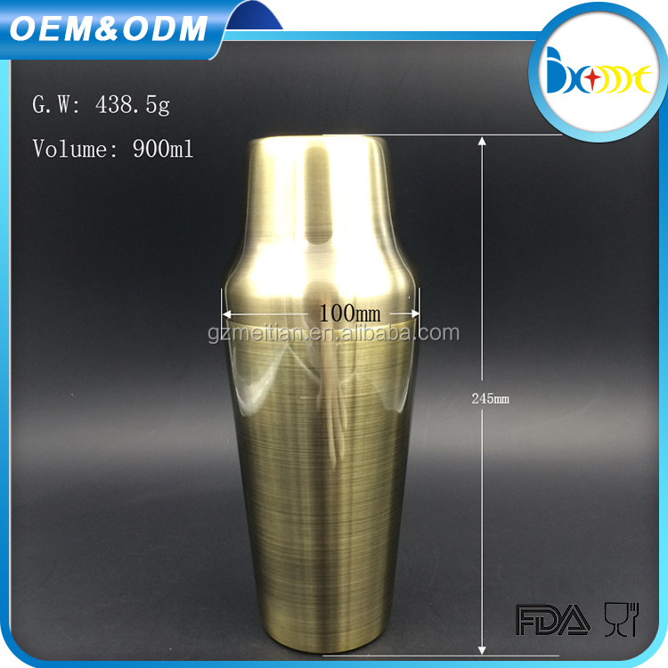 Barware Item gold plated stainless steel cocktail shaker