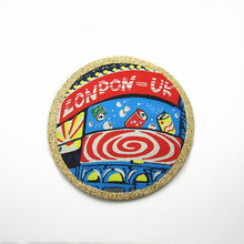 Free samples laser cut polyester patches iron on fabric patch