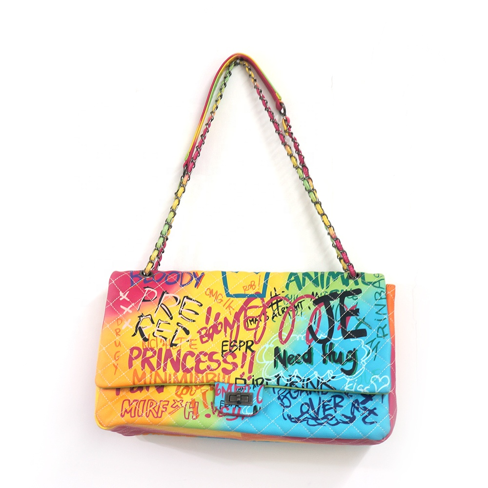 <strong>Manufacturers</strong> trendy large size colorful graffiti shopping bag lattice chains shoulder crossbody bag