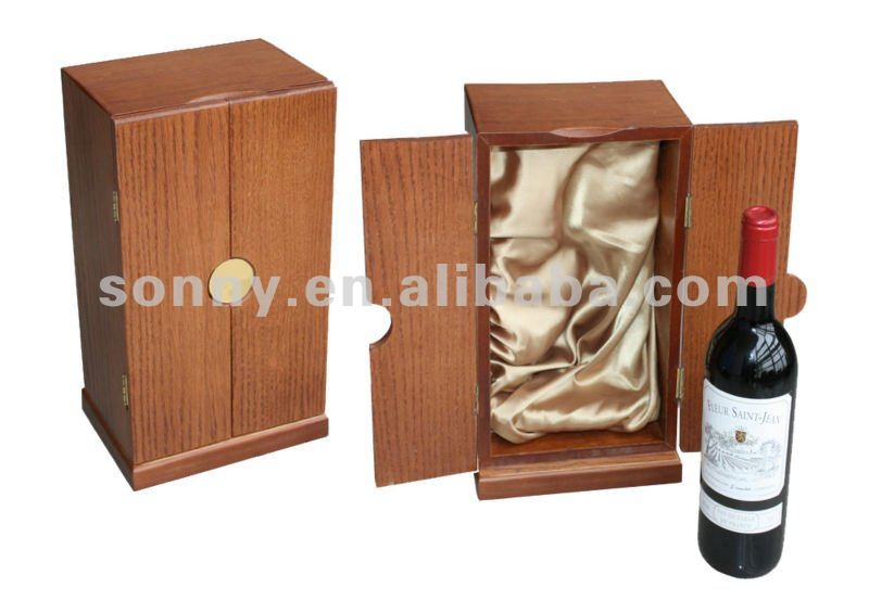 Hinged wooden wine bottle display box