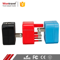 Wontravel standard grounding power sockets plugs travel emergency universal adapter with safety shutter
