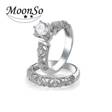 African wedding engagement 925 sterling silver rings set for bridal ladies finger fashion KR1943S