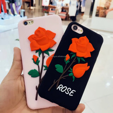 New 3D silicone red rose flower design phone cover case for iphone 5 6 6plus for iphone 7 7plus silicone case