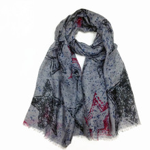 factory price wholesale pretty lady grey color printed scarf for dollar store