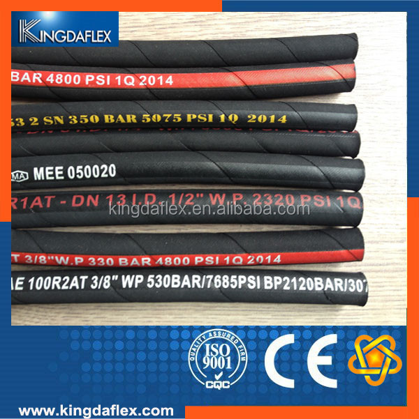 "Highly Abrasive 1/2"" Oil Resistant Wire Braided Rubber Hoses SAE100 R1AT"