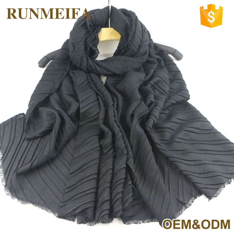 100% Cotton Thin Pleated Scarf Soft Touch Neck Hijab Modern Shawls