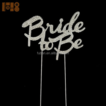 Bling silver rhinestone Bride to Be cake toppers for bride and groom wedding invitations