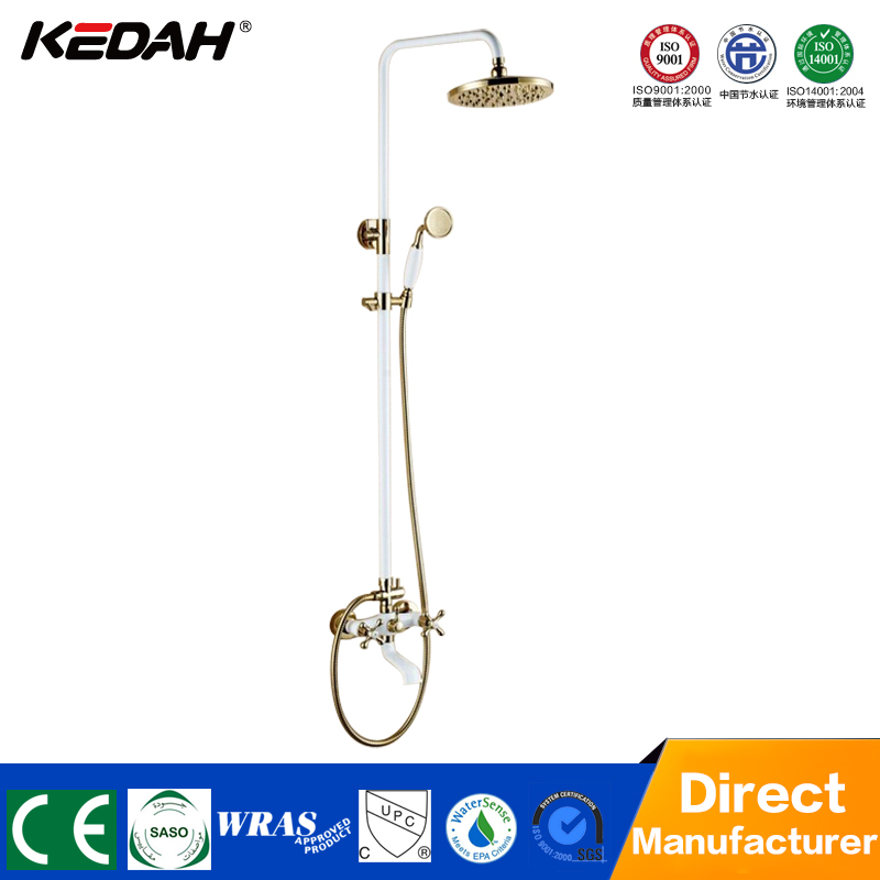 Cheap bathroom wall exposed luxury gold pvc rain shower faucet