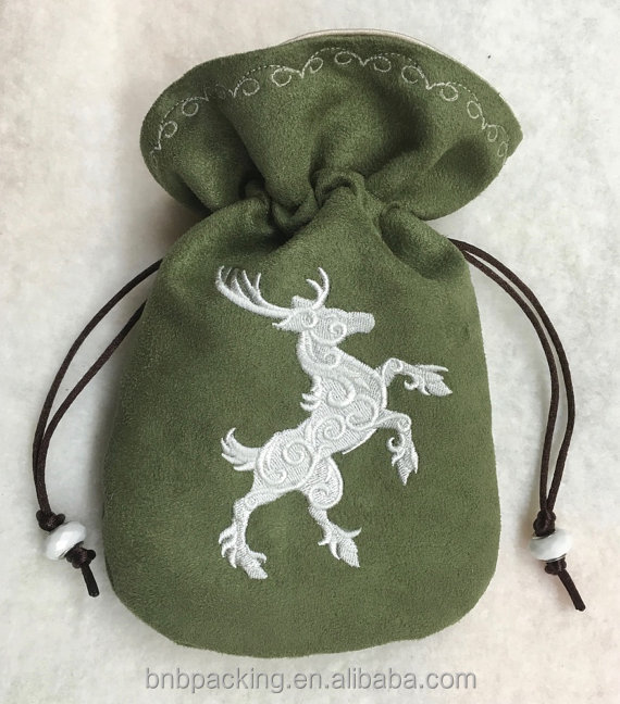 Wholesale Faux Suede Drawstring Bag With Customized Logo Cheap Suede Pouch Dice Bag