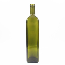 750ml glass green and brown and clear square olive oil bottle