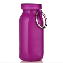 2017 Best Selling BPA Free Silicone Folding Sport Water Bottle/ Reusable Drink Carrier with Carabiner Clip Hook for Outdoor