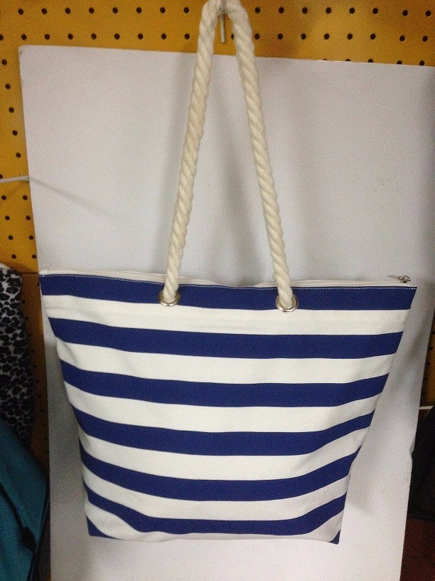 rope handle cotton canvas beach bag