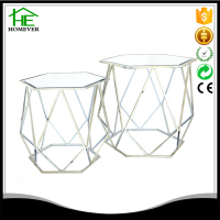 wholesale glass ornament antique hexagon coffee table design