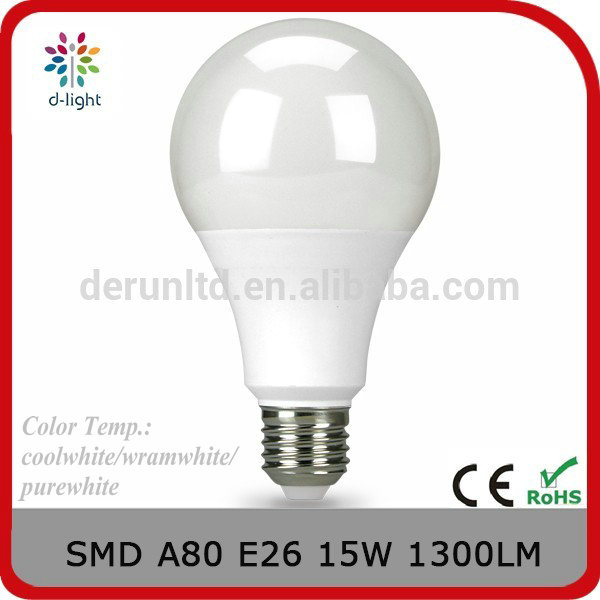 A80 15w <strong>e27</strong>/ b22/e26 1300lm 2700k-6400k global lights LED light bulb with ce rohs EMC