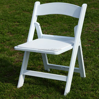 Resin Folding Padded White Chair For