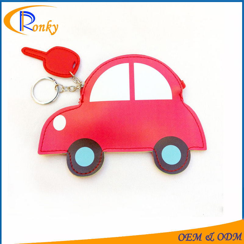 Girls custom printed purses car shaped coin holder with keyring