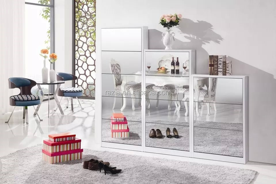 Wooden shoe cabinet design with mirror