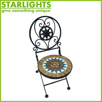 wholesale wrought iron furniture sets metal garden furniture mosaic dining table and chair