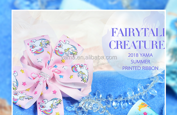 YAMA factory new arrival 25 MM unicorn mermaid animal printed cartoon ribbon