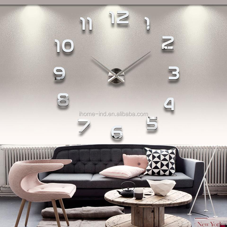 Modern Design 3d Diy Wall Clock Acrylic Mirror Stickers Decorative ...
